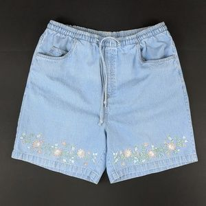 Paradise Bay High Rise Embroidered Denim Shorts 12